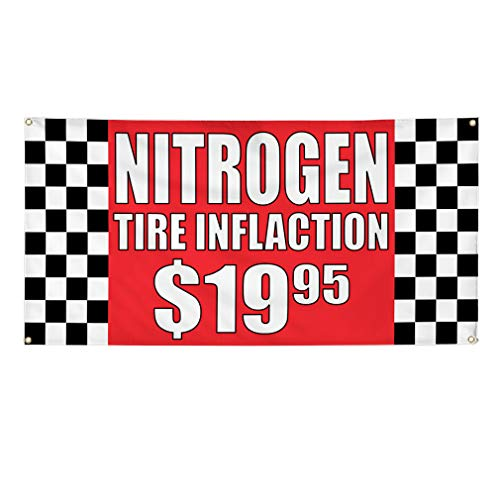 Vinyl Banner Sign Nitrogen Tire Inflation $1995#1 Nitro Marketing Advertising Red - 56inx140in (Multiple Sizes Available), 10 Grommets, One Banner