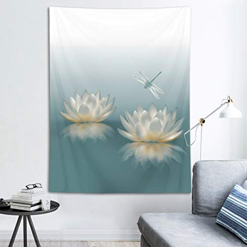 HVEST Lotus Pond Tapestry Dragonfly on Waterlily Flowers Wall Hanging Zen Spa Tapestries for Bedroom Living Room Dorm Party Decor,40Wx60H inches