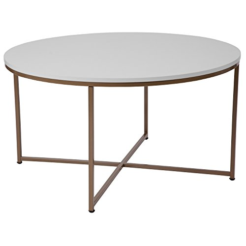 Flash Furniture Hampstead Collection White Coffee Table with Matte Gold (Cross Contemporary Coffee Table)