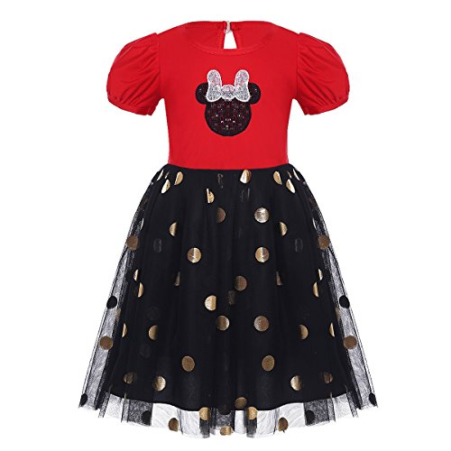 YiZYiF Baby Girl's Halloween Christmas Costume Polka Dots Party Tutu Dress Up Red Black 18-24 Months