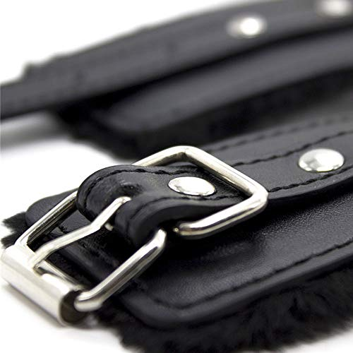 Dovior Soft Fur Leather Handcuffs Adjustable Wrist Cuffs Black