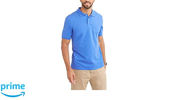 56dd8fcee George Mens Patterned No-Roll Collar Short Sleeve Polo Shirt (Small 34/36,  Shazam Blue White) at Amazon Men's Clothing store: