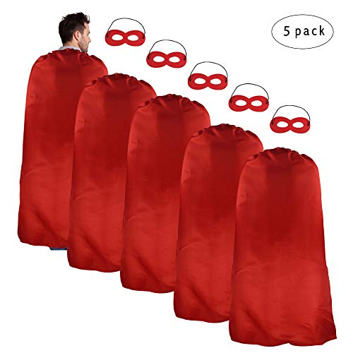 iROLEWIN Adult-Sized Superhero Capes Masks Set Costumes Men - Women Dress up Party (Red)