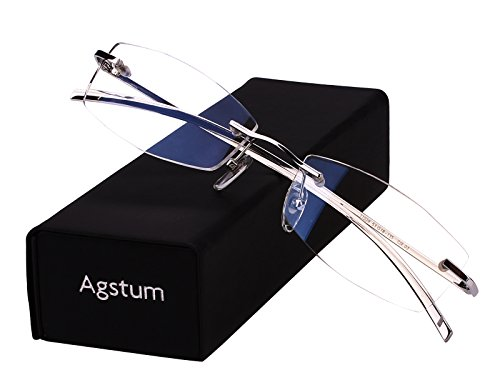 Agstum Pure Titanium Rimless Glasses Prescription Eyeglasses Rx (Silver, - Titanium Rimless Frames
