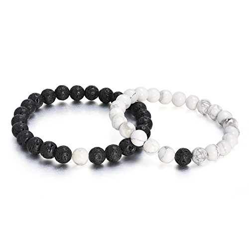 Yumei Jewelry Distance Bracelets for Lovers 2pcs Black Lava Beads & White Howlite 8mm Beads for Christmas