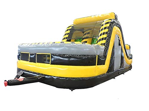 - 30-Foot Long Radical Run Inflatable Obstacle Course with Climbing Wall, Venom Yellow and Black , 16-Foot Wide by 15-Foot Tall, Commercial Grade Interactive Bounce House, Blower and Stakes Included