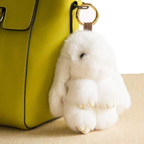 YISEVEN Stuffed Bunny Keychain Toy - Soft Fuzzy Large Stitch Plush Rabbit Fur Key Chain - Cute Fluffy Bunnies Floppy Furry Animal Easter Basket Stuffers Gifts Women Bag Charm Car Pendant- White]()