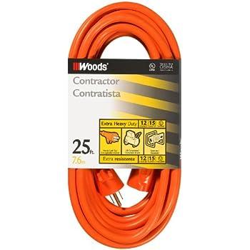 Woods 0528 12 3 Outdoor Sjtw Vinyl Extension Cord 25 Foot