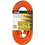 Woods 528 12/3 25-Foot Outdoor SJTW Vinyl Extension Cord (Orange)