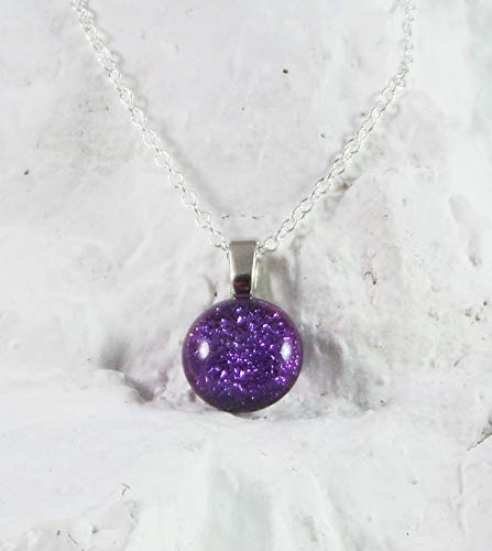 Dainty Dichroic Handcrafted Birthstone Fused Glass Pendant February Amethyst w Necklace