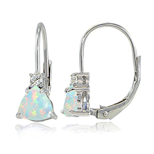 Sterling Silver Created White Opal & White Topaz Trillion-Cut Leverback Drop Earrings