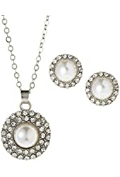 Anne Klein 'Fancy Me' Faux Pearl Necklace & Studs Gift Set