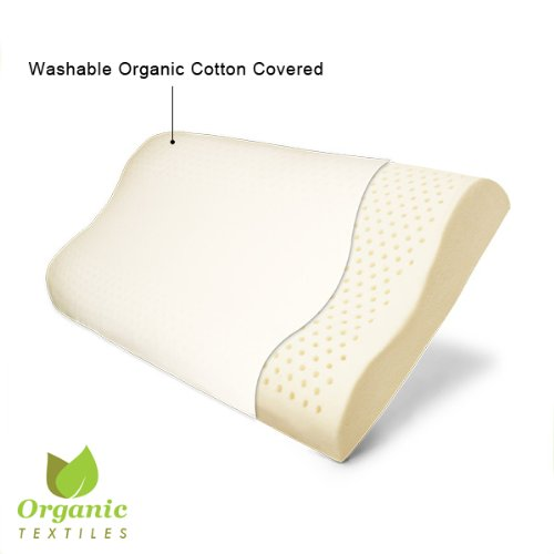 100% Organic Latex Contour Neck Pillow Standard with Organic cotton covering