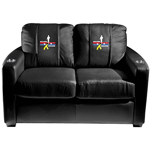 XZipit Armed Forces Silver Loveseat with Welcome Home Soldier Logo Panel, Black