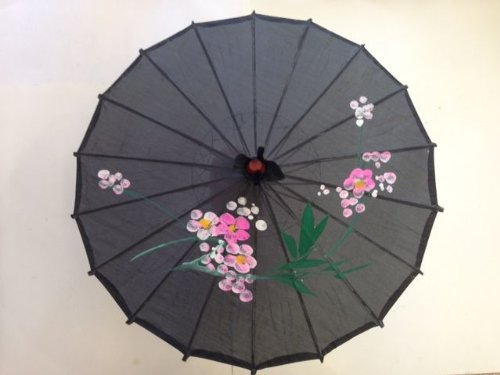 (Chinese Japanese Black Fabric Umbella Parasol 22