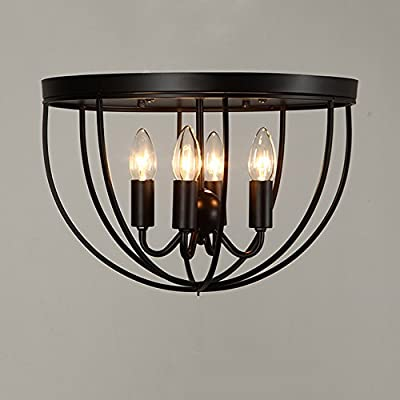 KunMai Vintage Black Metal Cage Ceiling Light Flush Mount Fixture 4 Lights Candle Style