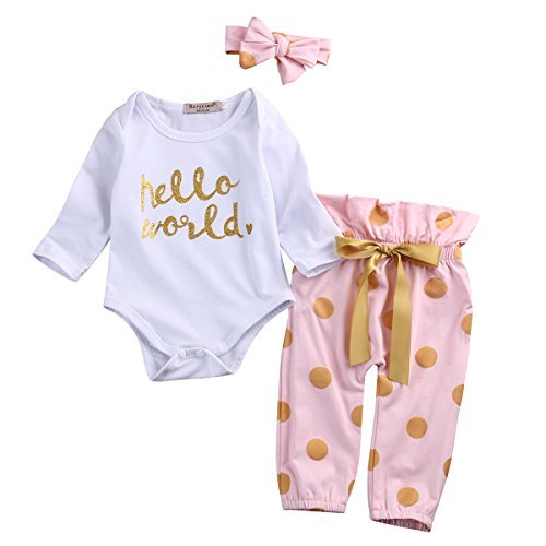 3Pcs Infant Newborn Baby Girls Hello World Romper Tops+Pants Clothes Outfit Sets (0-6 Months, White)]()