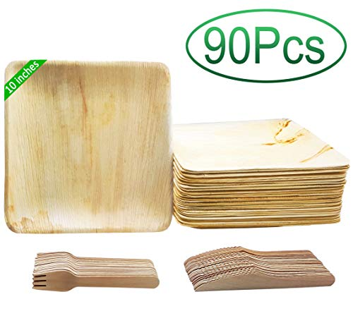 90 PCS All Natural Dinnerware Set | 30 Eco-Friendly 10 Palm Leaf Disposable Plates, 30 Forks and 30 Knives Disposable Cutlery Set/Flatware | 100% Biodegradable & Compostable | Wedding, Camping & More