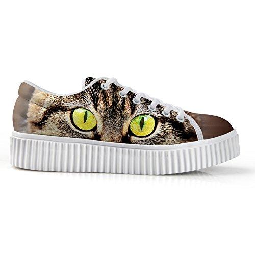 Cute up Fashion Sneaker Print FOR Women 4 Shoe Cat DESIGNS Low Lace Platform Skate Top U Funny EqqwBT7