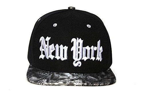 City Black/Snakeskin Olde English Adjustable Baseball Cap - New York (Snakeskin Baseball)