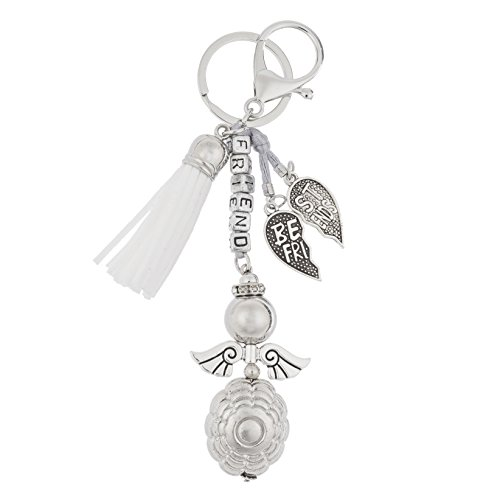 Guardian Angel Purse Charm Friendship Best Friend White Keychain Accessory with Tassel for Bag Purse Fortune Luck Energy Chakra Healing Yoga (Guardian Angel for (Angel Fashion Accessories)