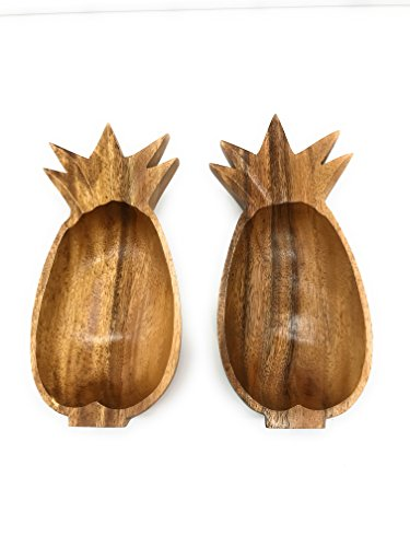 SDS Home Imports Acacia Wood Pineapple Medium Bowl Hawaiin Style Latin Style 1 Pack and 2 Pack Fruit and Salad Rice Sushi -
