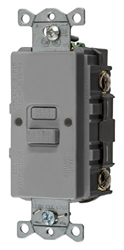 Bryant Electric GFBFST20GY 20 Amp 125V Commercial/Residential Self Test Faceless GFCI Receptacle, Gray ()