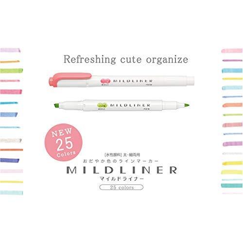 Zebra Mildliner 25 Colour Full Set & Tombow Fudenosuke Brush Pen - Hard Type x 2 & Soft Type x 2. With original card by Mildliner, Fudenosuke (Image #3)
