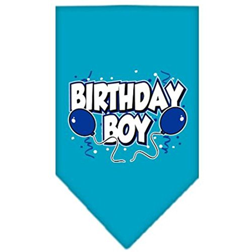 (Mirage Pet Products Birthday Boy Screen Print Bandana for Pets, Large, Turquoise)