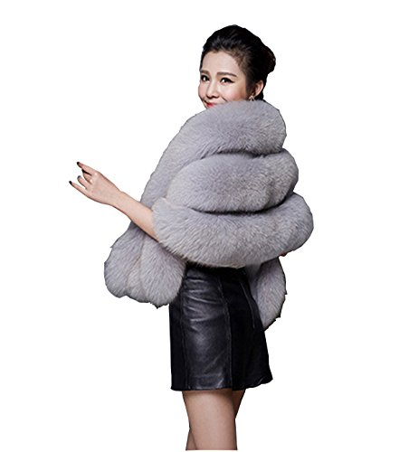 XIANIWTA Faux Fur Wrap Shawl Shrug Bolero Cape , Bridal Jacket coat shawls (Grey, One Size)
