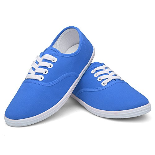 CIOR Women Lace up Canvas Shoes Casual Round Tote Classic Sneakers Original Lightweight Soft F.army Blue kLEWvoJ7