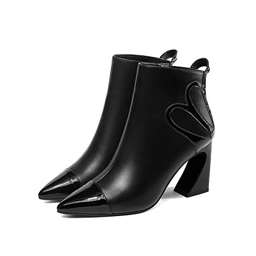 Plat à Bottines Bout Pointu Femme à pour Talon Black Warm qPEEA4