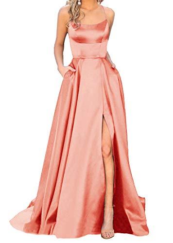 Women's Spaghetti Satin Long Black Prom Dresses with Pockets (4, Blush)