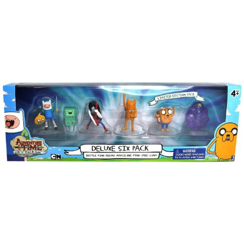 Adventure Time ~2 Mini-Figure Deluxe Pack (6 Figures: Battle Finn, Beemo, Marceline, Finn, Jake, Lumpy)