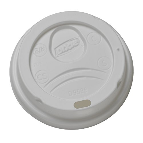 Dixie D9538 Dome Hot Drink Lids, 8oz Cups, White, 100 Per Sleeve (Case of 10 Sleeves)