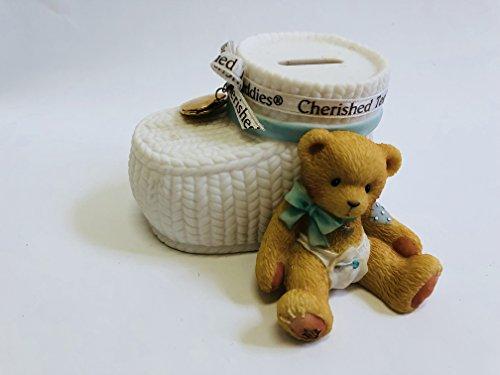 "4"" Cherished Teddies Ceramic Baby Boy Blue Booties Money Piggy Bank Gold Heart Love Bear In Diaper"