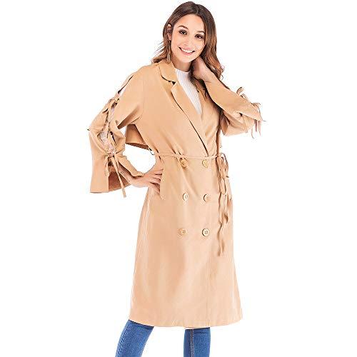 AOJIAN Women Jacket Long Sleeve Outwear Turn Down Collar Bandage Double Breasted Outerwear Maxi Trench Coat Khaki