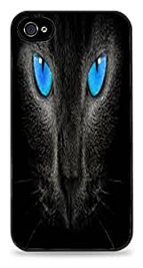 Blue Eyed Cat Black Silicone Case for iPhone 4 / 4S