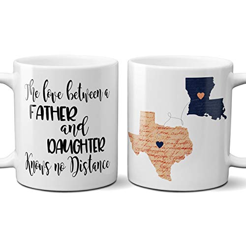 - Coffee Mug for Dad State Long Distance Fathers Day Gift Love Between Father and Daughter or Son