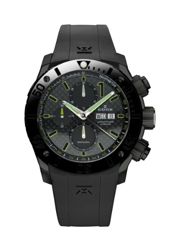 Edox-Mens-01114-37N-NV-Class-1-Automatic-Chronograph-Black-PVD-Rubber-Watch