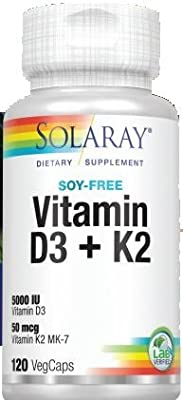 Solaray® Vitamin D3 + K2 | D & K Vitamins for Calcium Absorption and Support for Healthy Cardiovascular System & Arteries | Non-GMO & Soy-Free | 120Ct