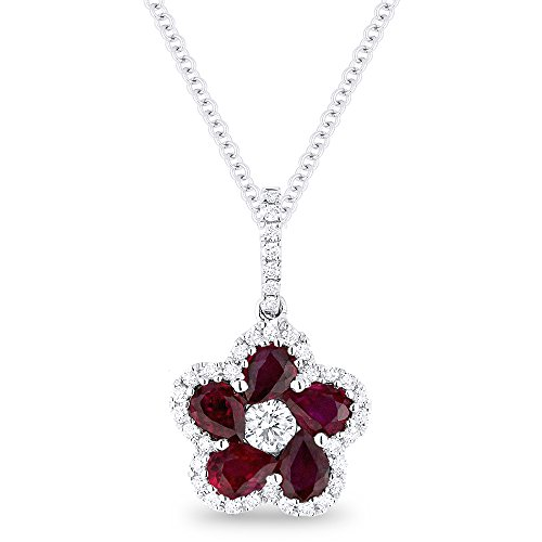 Ruby Gemstone & Accented Diamond Pendant-Necklace Set In 14K (0.25 Ct Ruby Pendant)