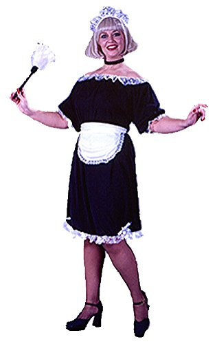 Feather Duster Costume (French Maid Costume for Big and Beautiful Plus Size with Fishnets and Duster)