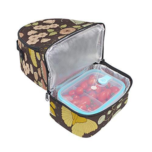 con la estampado Bolsa hombro ajustable para correa pincnic el el de con para FOLPPLY escuela térmica floral almuerzo para q8Z1nHq