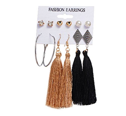 6 Pair Bohemian Alloy Tassel Earrings Fashion Simple Ladies Handmade Earrings