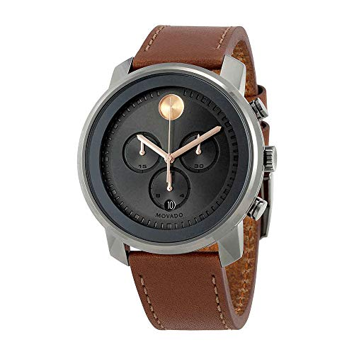 Movado Men's Stainless Steel Swiss-Quartz Watch with Leather Strap, Brown, 22 (Model: 3600421)