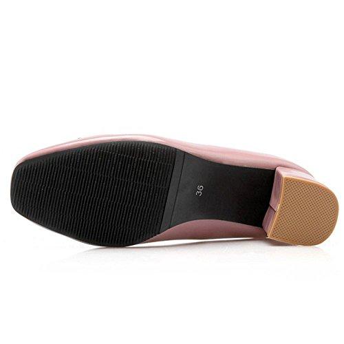 Pompes Longfengma Les Mode Glisser Mi Femmes Talons Sur Rose Bloc Chaussures wrq8TpXr