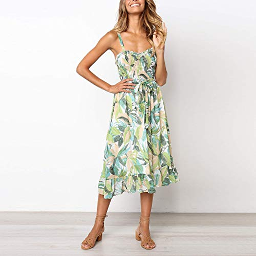 1443c5256efe ... Tronet Summer Casual Dresses,Womens Floral Leaf Printed Off Shouder  Dress Sling Summer Beach Lace ...