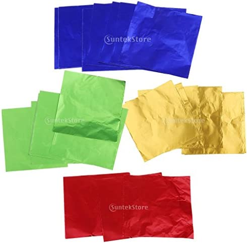 約400枚 ギフト包装用紙 包み紙 アルミ箔 ホイルラッパー パッケージ キャンディ/チョコ 全3種 - 黄/赤/緑/青, 8×8cm