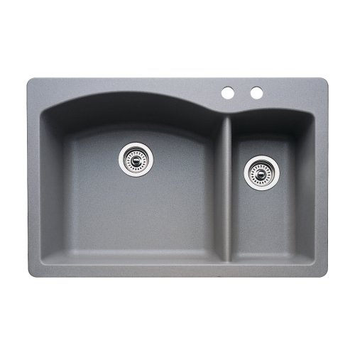 (Blanco 440198-2 Diamond 2-Hole Double-Basin Drop-In or Undermount Granite Kitchen Sink, Metallic Grey)